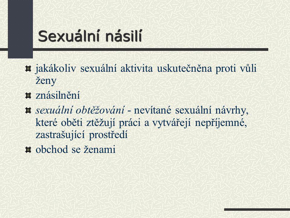 Sexuální násilí jakákoliv sexuální aktivita uskutečněna proti vůli ženy. znásilnění.