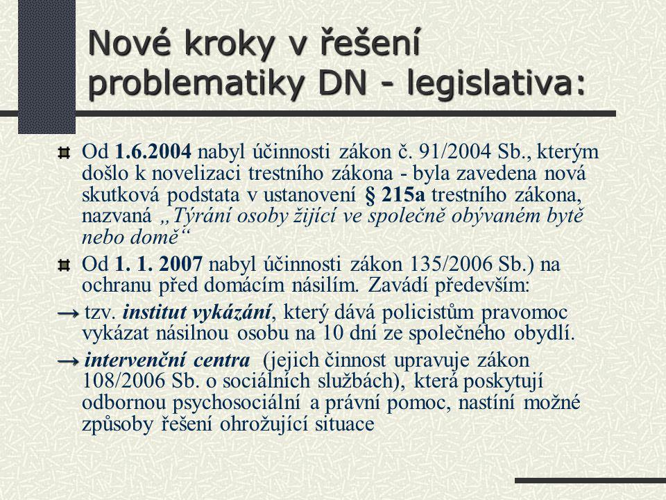 Nové kroky v řešení problematiky DN - legislativa: