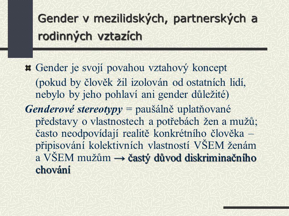 Gender v mezilidských, partnerských a rodinných vztazích
