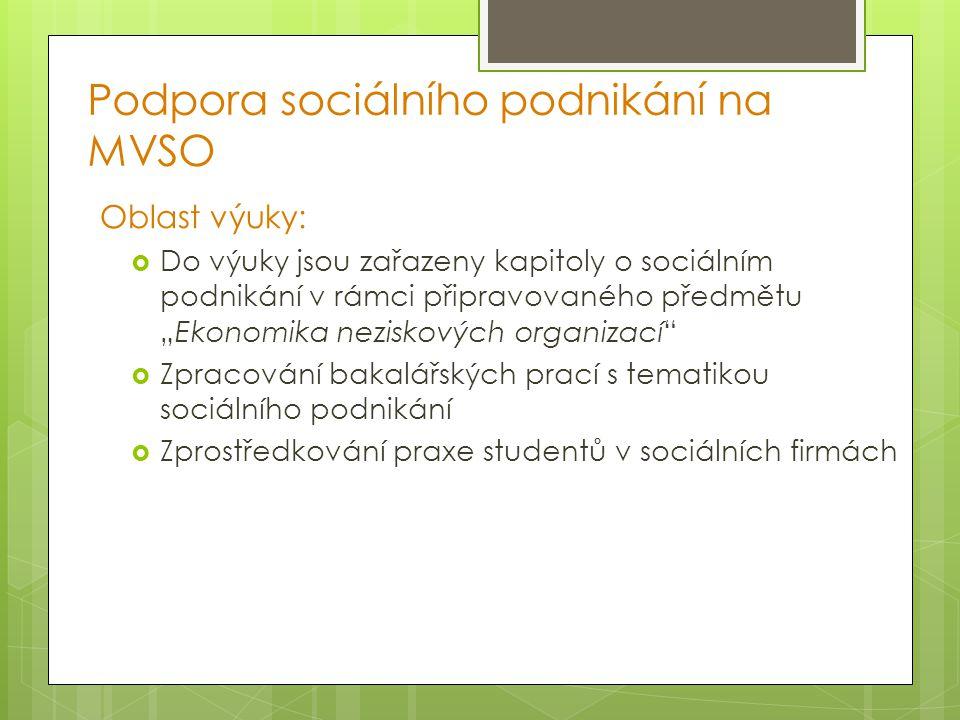 Podpora sociálního podnikání na MVSO