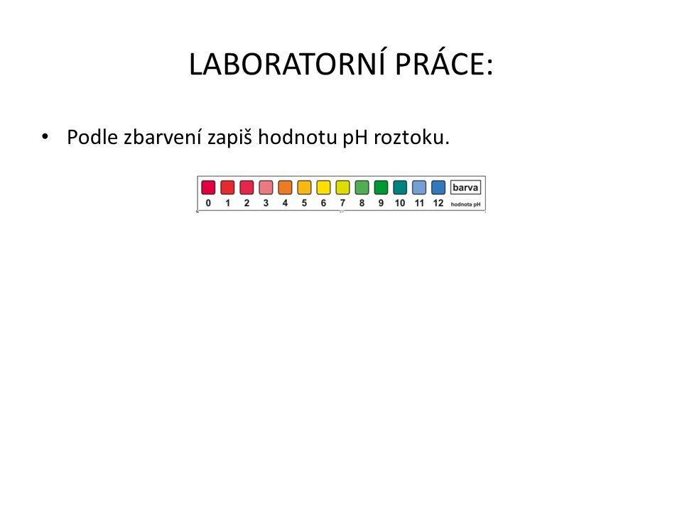 LABORATORNÍ PRÁCE: Podle zbarvení zapiš hodnotu pH roztoku.