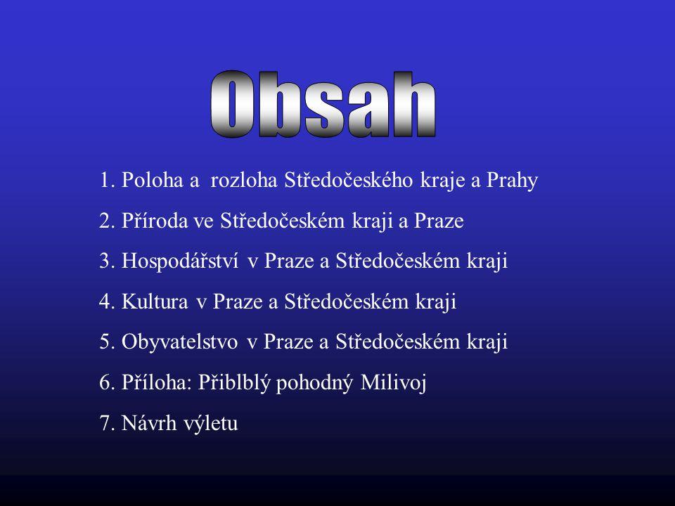 Obsah 1. Poloha a rozloha Středočeského kraje a Prahy