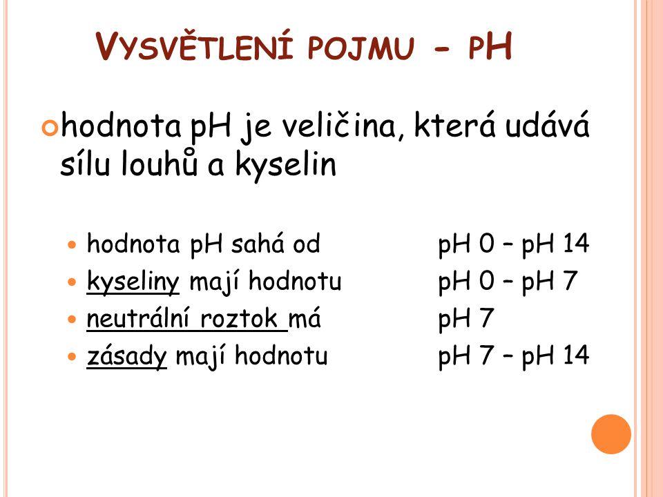Vysvětlení pojmu - pH hodnota pH je veličina, která udává sílu louhů a kyselin. hodnota pH sahá od pH 0 – pH 14.