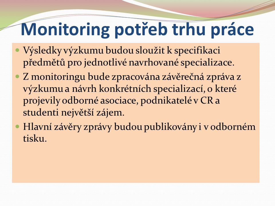 Monitoring potřeb trhu práce