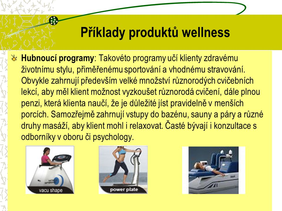 Příklady produktů wellness