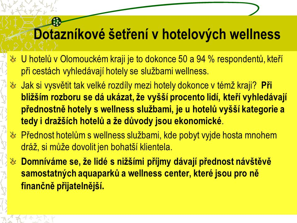 Dotazníkové šetření v hotelových wellness