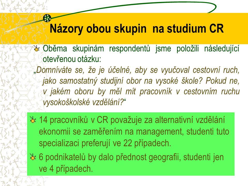 Názory obou skupin na studium CR