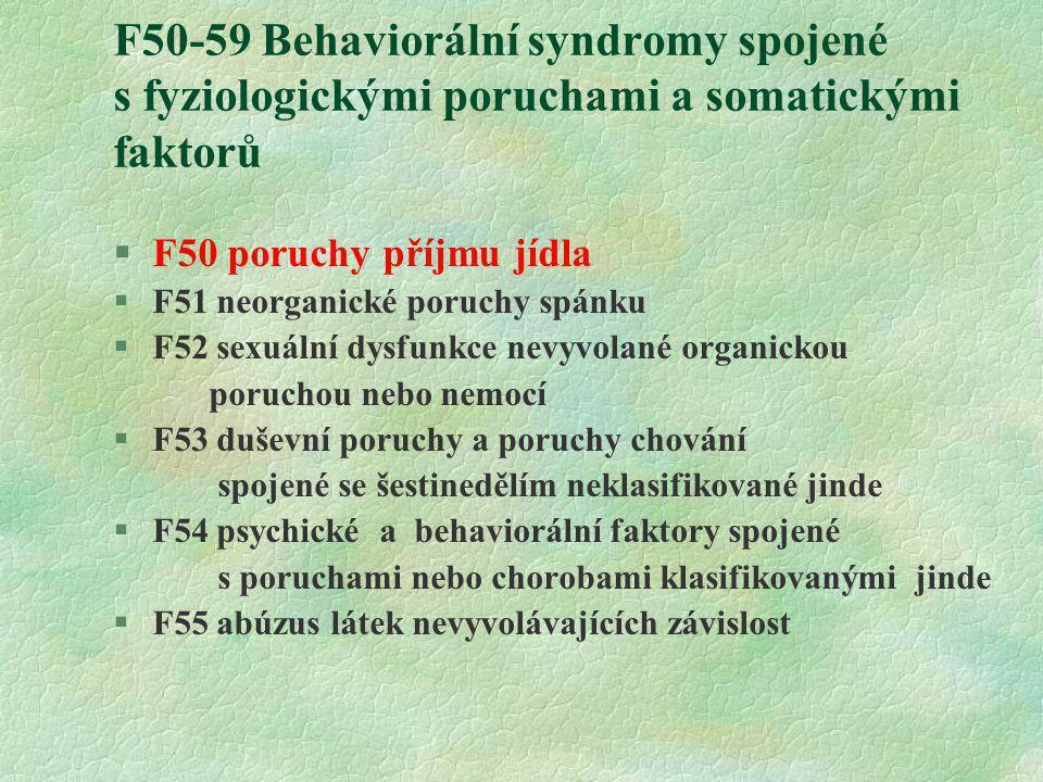 F50-59 Behaviorální syndromy spojené s fyziologickými poruchami a somatickými faktorů