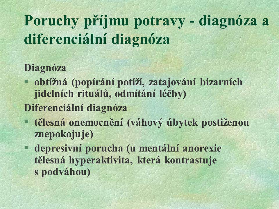 Poruchy příjmu potravy - diagnóza a diferenciální diagnóza