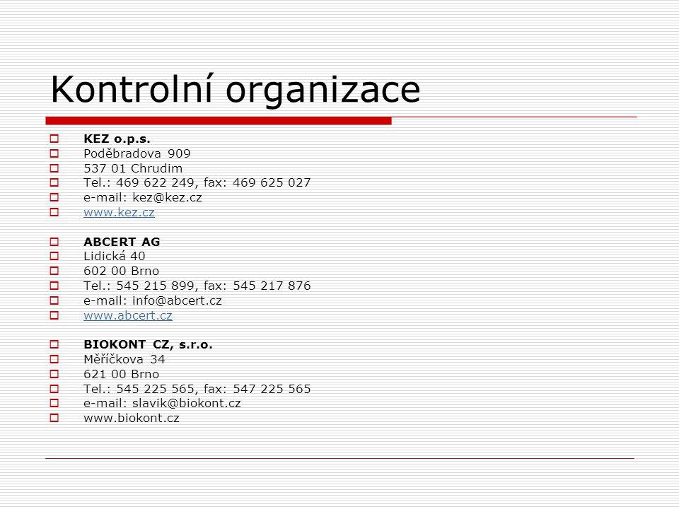 Kontrolní organizace KEZ o.p.s. Poděbradova 909 537 01 Chrudim