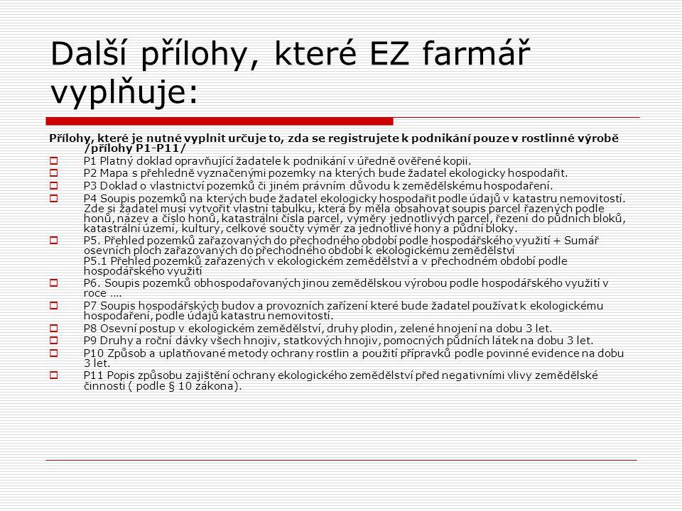 Další přílohy, které EZ farmář vyplňuje:
