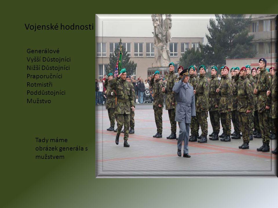 Vojenské hodnosti Generálové Vyšší Důstojníci Nižší Důstojníci