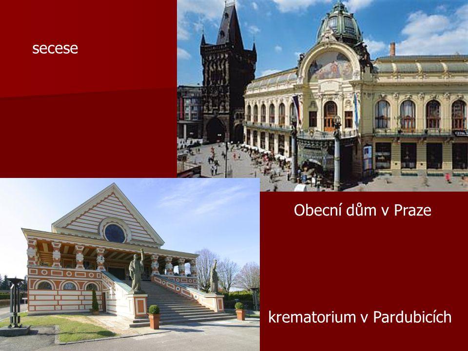 secese Obecní dům v Praze krematorium v Pardubicích