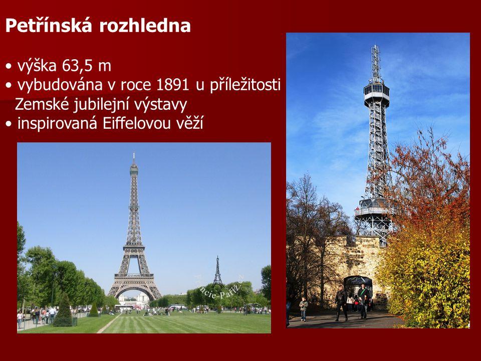 Petřínská rozhledna výška 63,5 m vybudována v roce 1891 u příležitosti