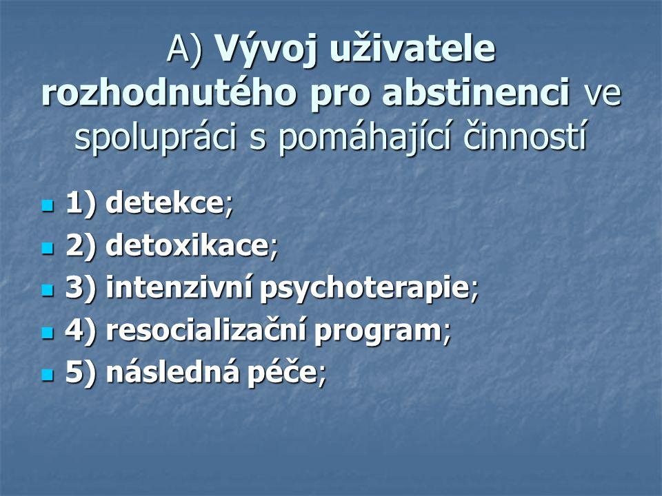 A) Vývoj uživatele rozhodnutého pro abstinenci ve spolupráci s pomáhající činností