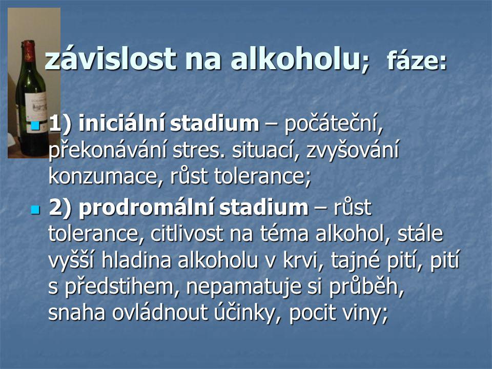 závislost na alkoholu; fáze: