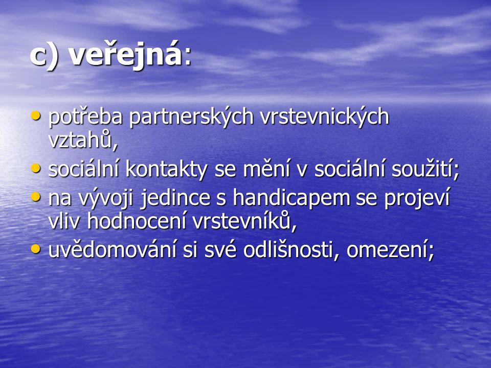 c) veřejná: potřeba partnerských vrstevnických vztahů,