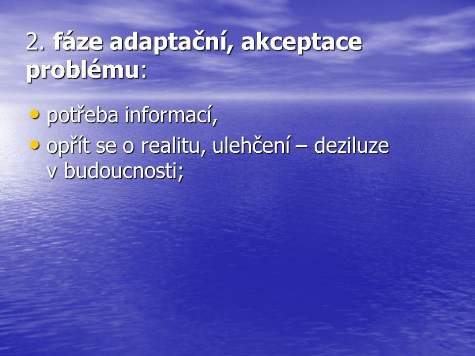 2. fáze adaptační, akceptace problému: