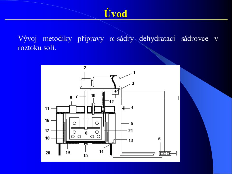Úvod Vývoj metodiky přípravy a-sádry dehydratací sádrovce v roztoku solí.