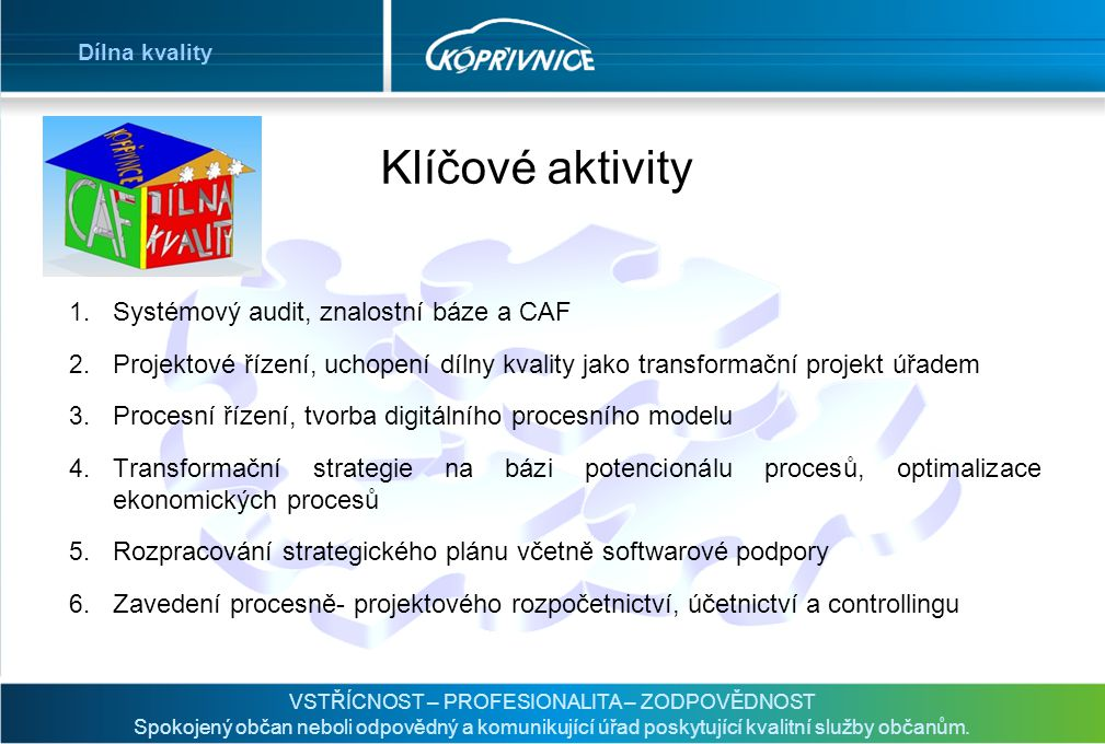 Klíčové aktivity Systémový audit, znalostní báze a CAF