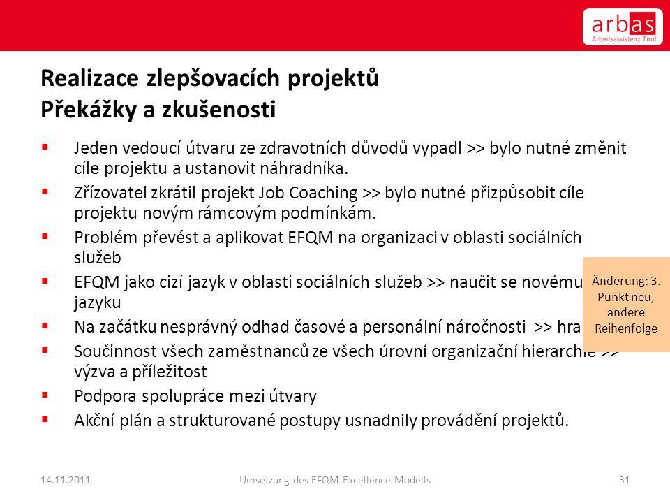 Realizace zlepšovacích projektů Překážky a zkušenosti