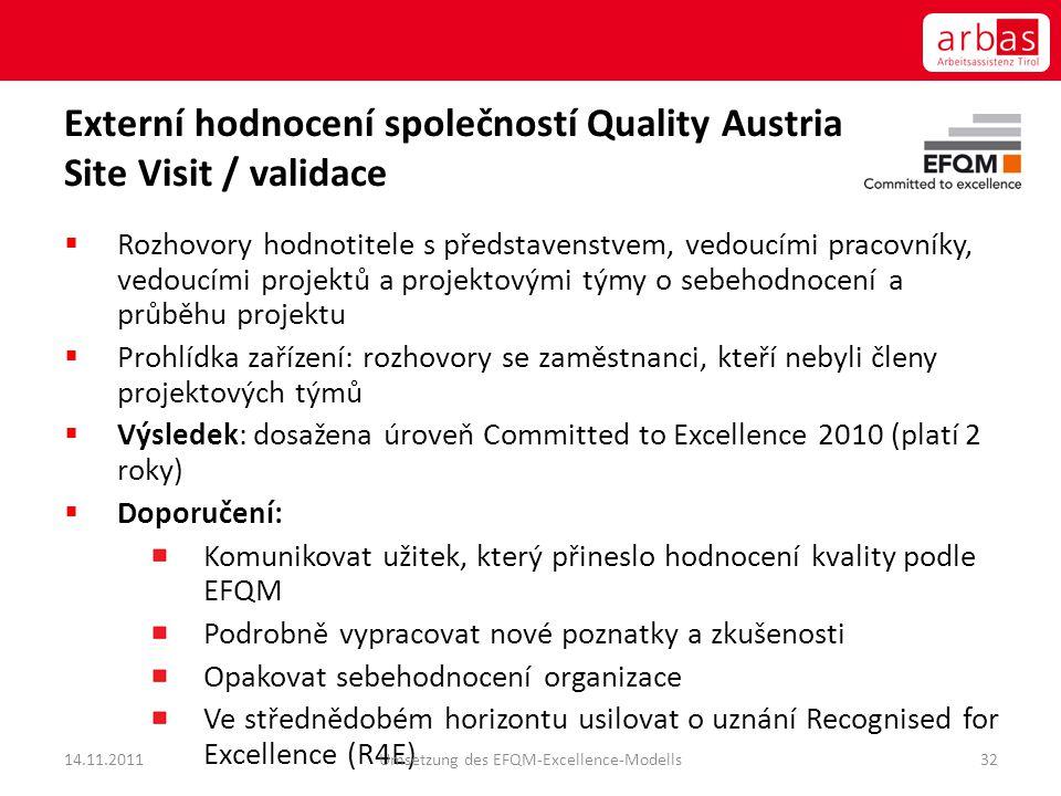 Externí hodnocení společností Quality Austria Site Visit / validace