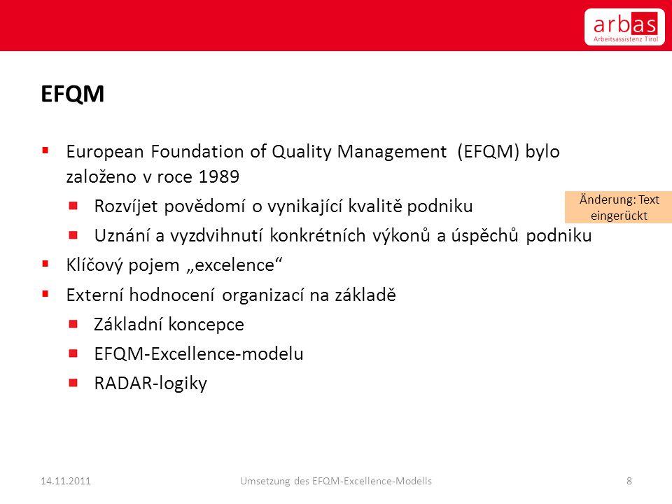 EFQM European Foundation of Quality Management (EFQM) bylo založeno v roce 1989. Rozvíjet povědomí o vynikající kvalitě podniku.