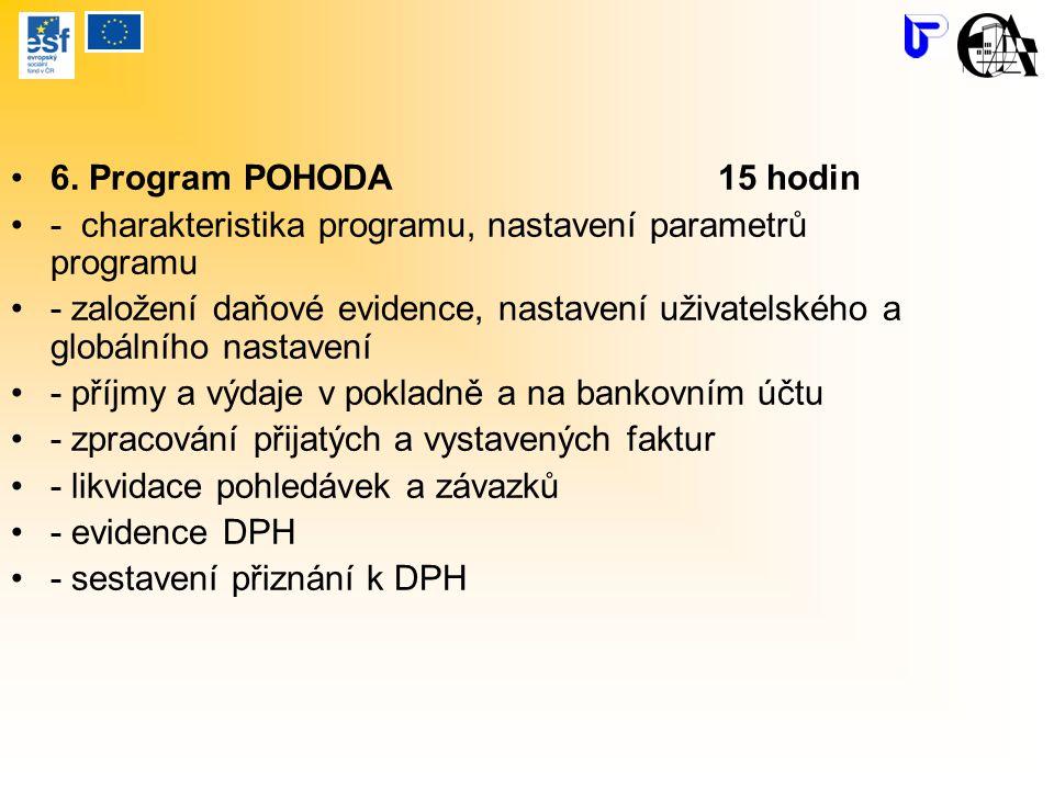 6. Program POHODA 15 hodin - charakteristika programu, nastavení parametrů programu.