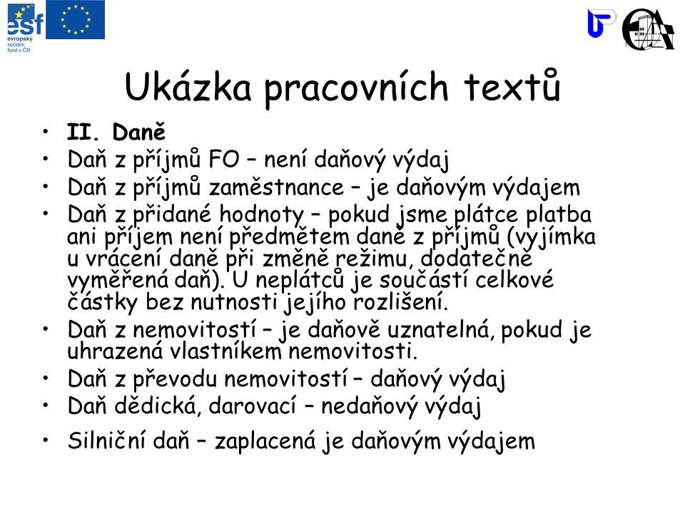 Ukázka pracovních textů