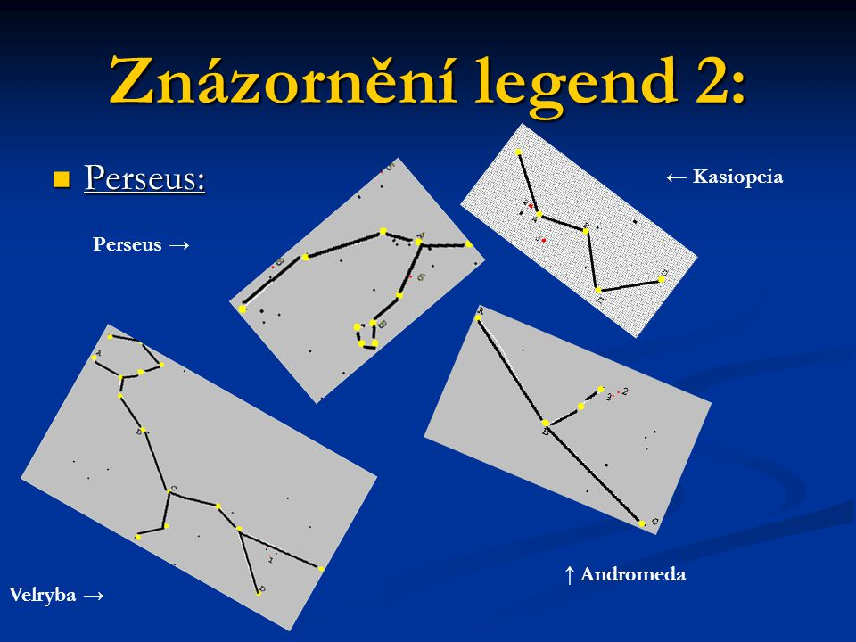 Znázornění legend 2: Perseus: ← Kasiopeia Perseus → ↑ Andromeda