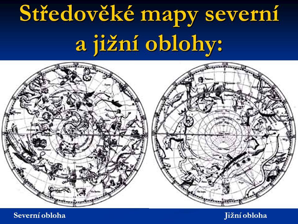 Středověké mapy severní a jižní oblohy: