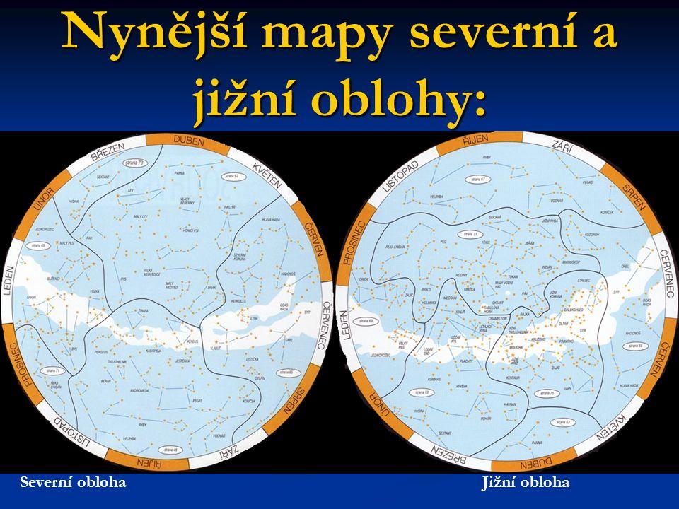Nynější mapy severní a jižní oblohy: