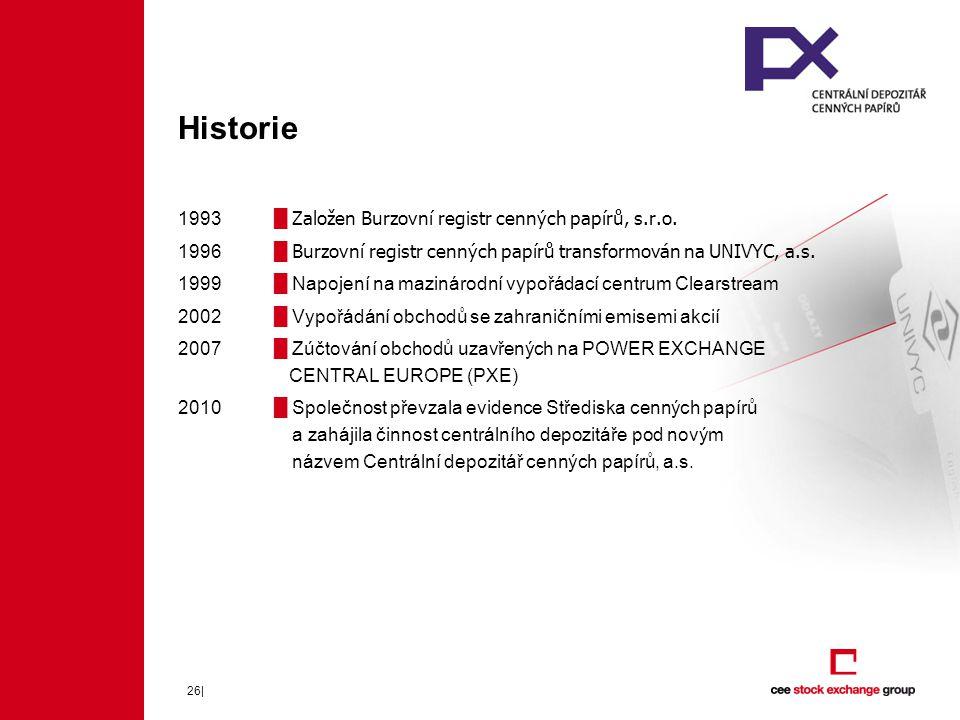 Historie 1993 █ Založen Burzovní registr cenných papírů, s.r.o.
