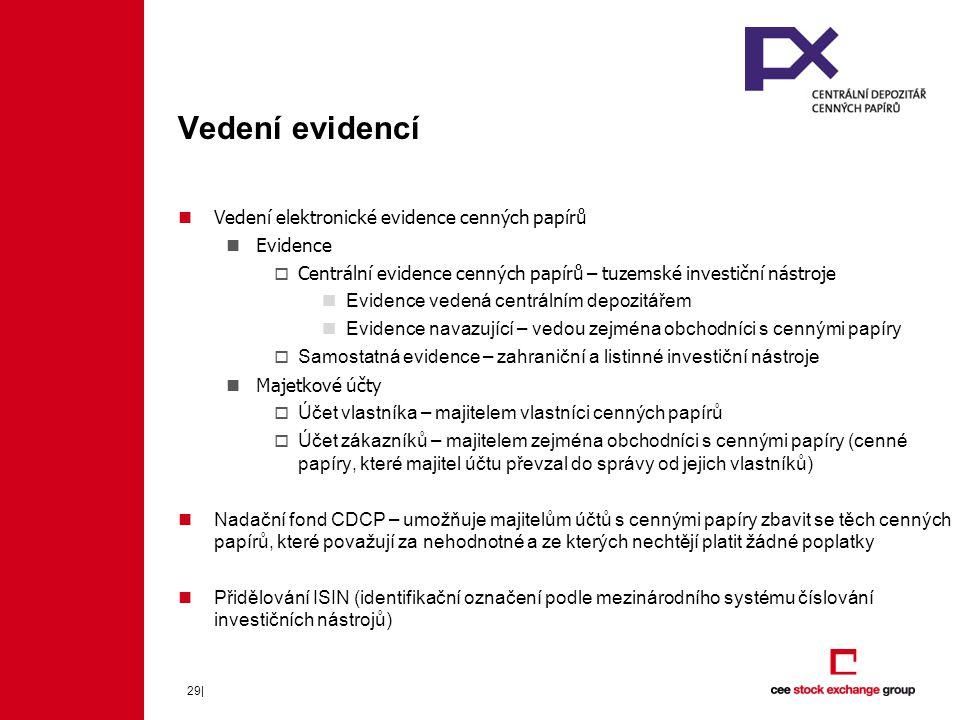 Vedení evidencí Vedení elektronické evidence cenných papírů Evidence