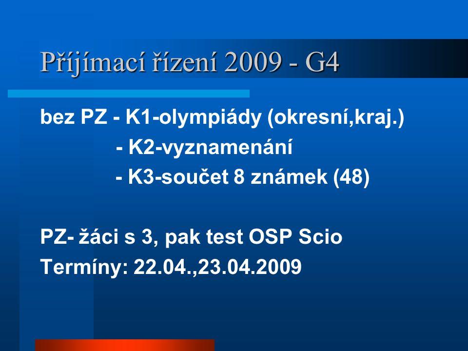 Příjímací řízení 2009 - G4 bez PZ - K1-olympiády (okresní,kraj.)