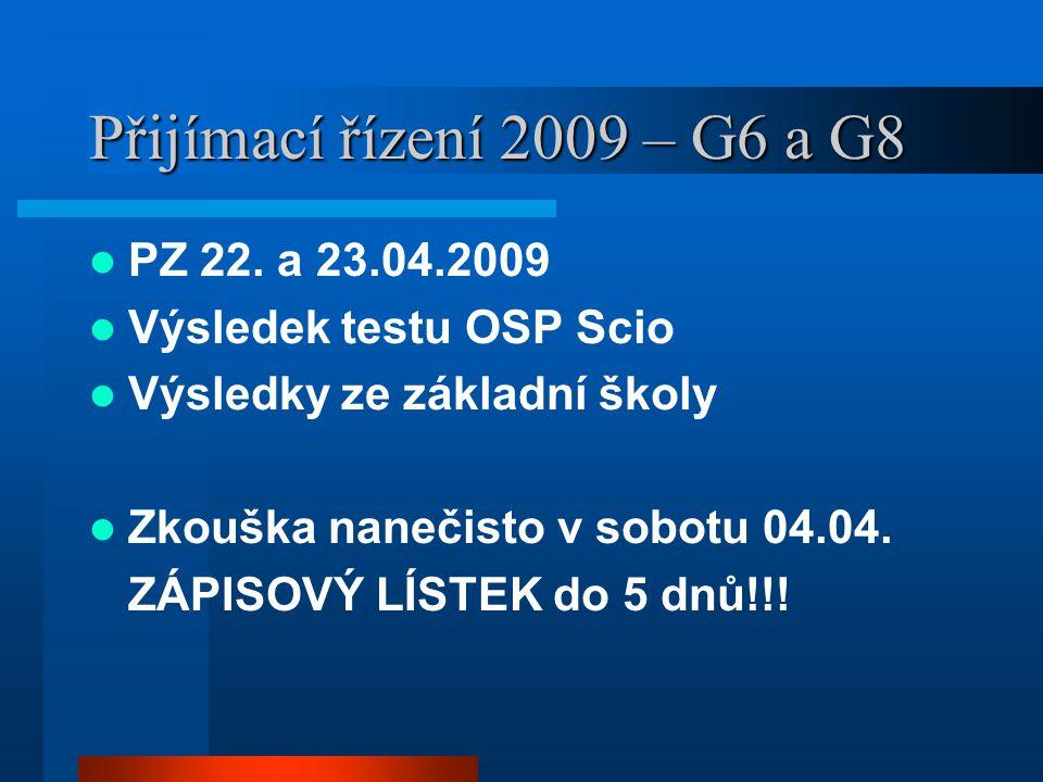 Přijímací řízení 2009 – G6 a G8 PZ 22. a 23.04.2009