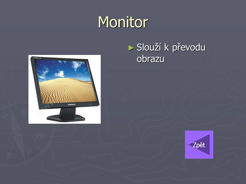 Monitor Slouží k převodu obrazu Zpět