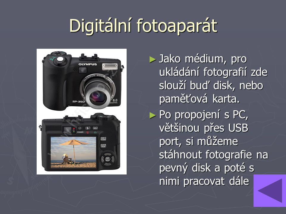 Digitální fotoaparát Jako médium, pro ukládání fotografií zde slouží buď disk, nebo paměťová karta.