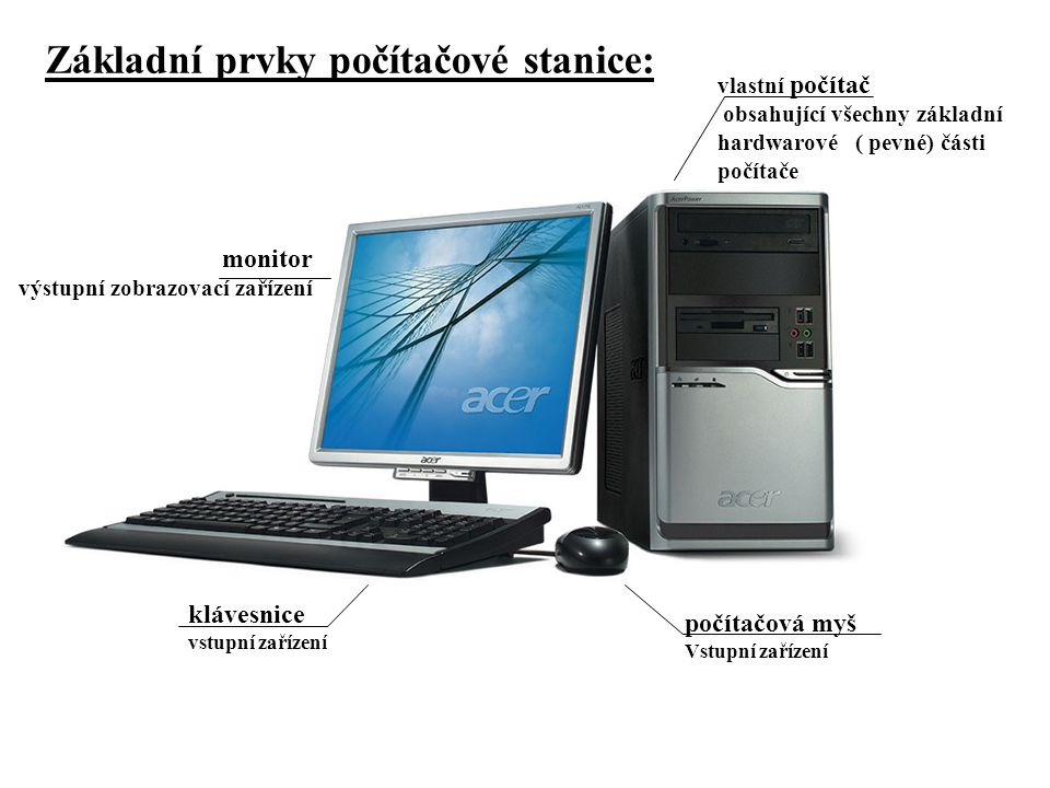 Základní prvky počítačové stanice: