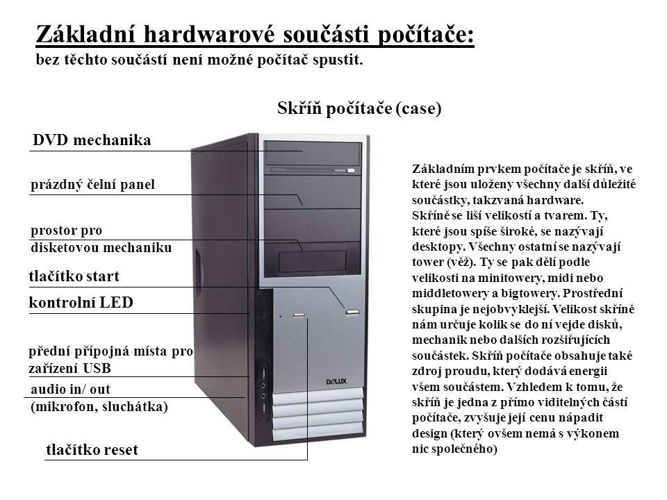 Základní hardwarové součásti počítače: