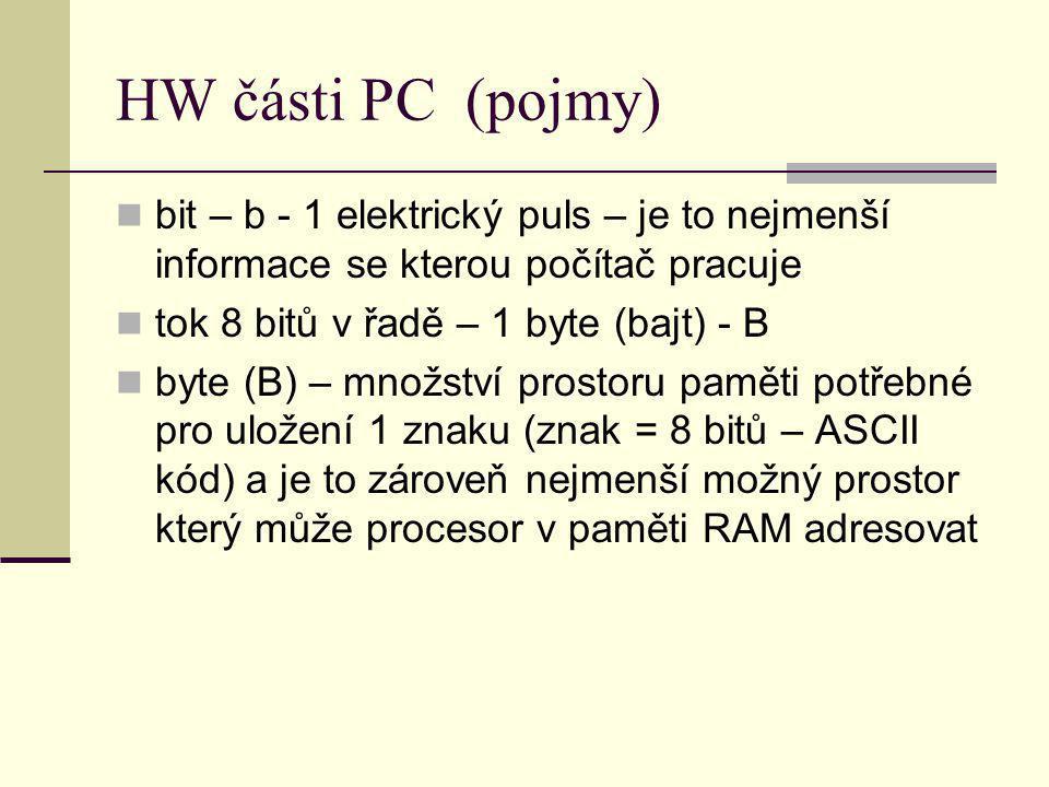 HW části PC (pojmy) bit – b - 1 elektrický puls – je to nejmenší informace se kterou počítač pracuje.