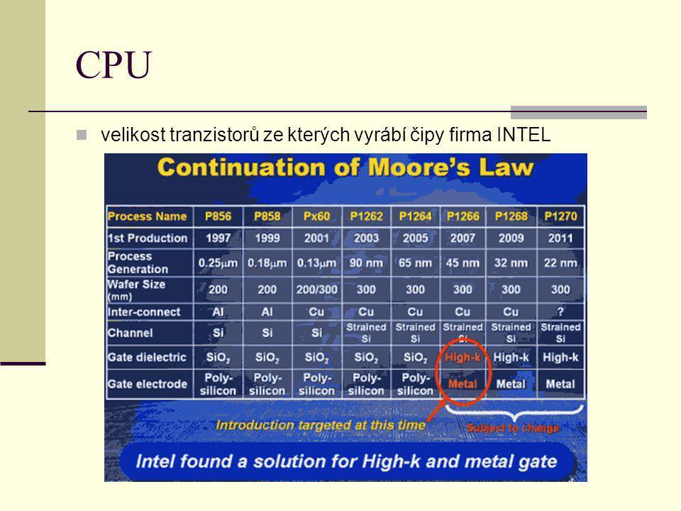 CPU velikost tranzistorů ze kterých vyrábí čipy firma INTEL