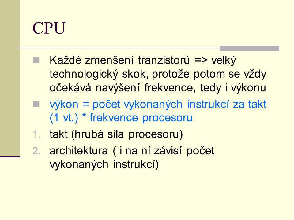 CPU Každé zmenšení tranzistorů => velký technologický skok, protože potom se vždy očekává navýšení frekvence, tedy i výkonu.