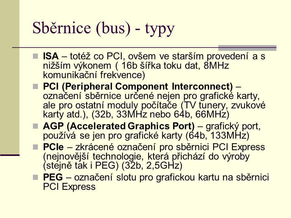 Sběrnice (bus) - typy ISA – totéž co PCI, ovšem ve starším provedení a s nižším výkonem ( 16b šířka toku dat, 8MHz komunikační frekvence)