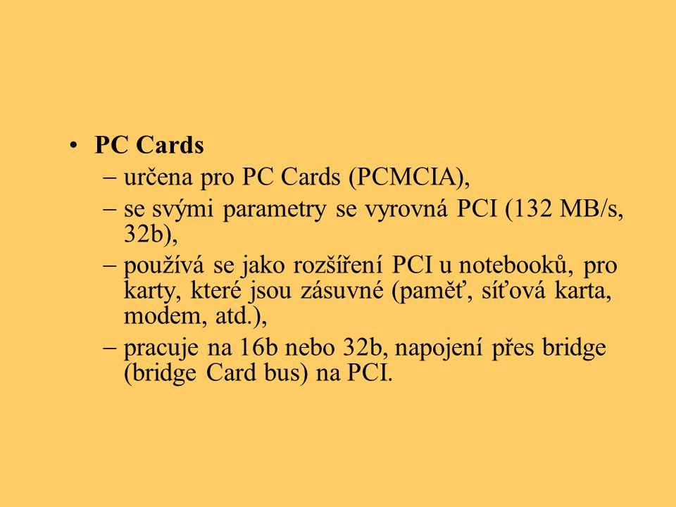 PC Cards určena pro PC Cards (PCMCIA), se svými parametry se vyrovná PCI (132 MB/s, 32b),