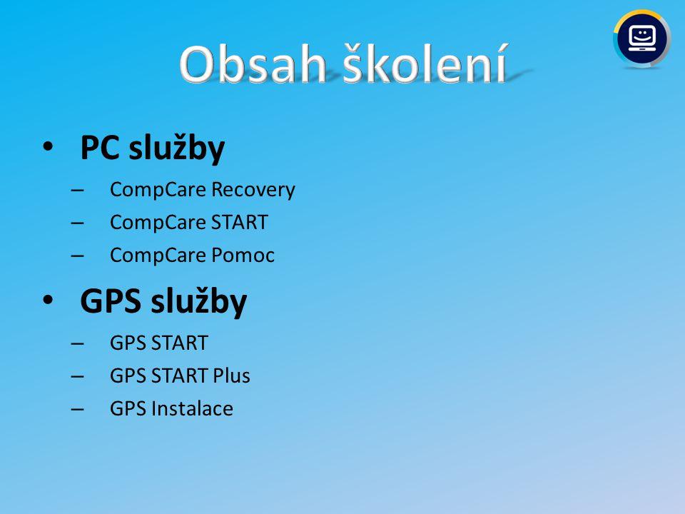 Obsah školení PC služby GPS služby CompCare Recovery CompCare START