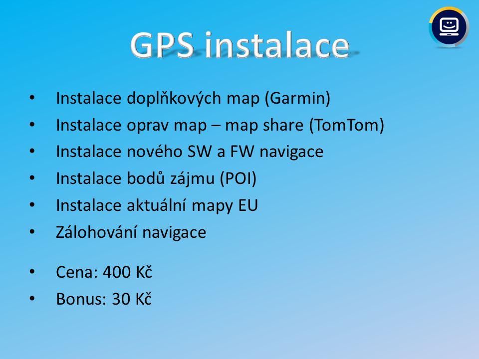 GPS instalace Instalace doplňkových map (Garmin)