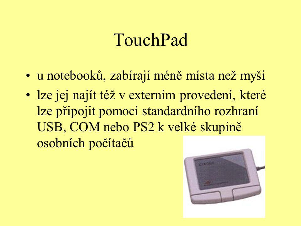 TouchPad u notebooků, zabírají méně místa než myši