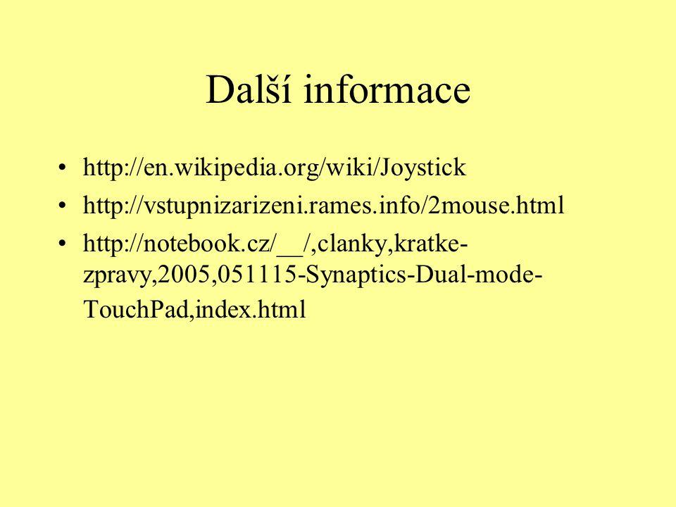 Další informace http://en.wikipedia.org/wiki/Joystick