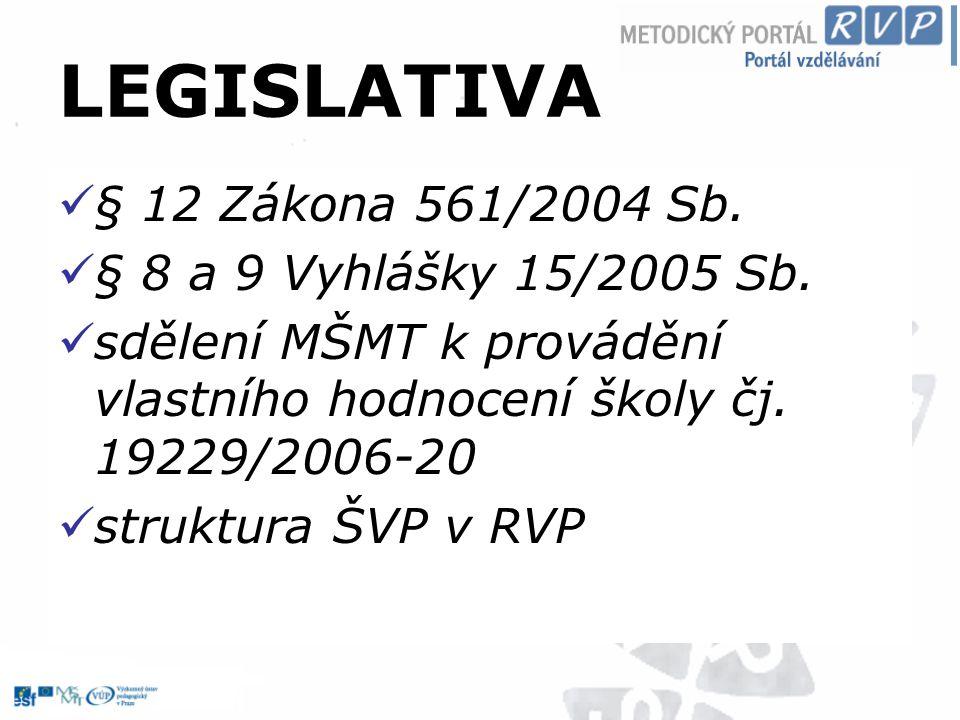 LEGISLATIVA § 12 Zákona 561/2004 Sb. § 8 a 9 Vyhlášky 15/2005 Sb.